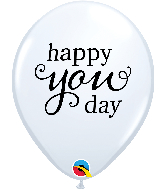 """11"""" Simply Happy You Day White Latex Balloons"""