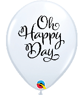 """11"""" Simply Oh Happy Day White Latex Balloons"""