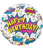 "18"" Birthday Super Hero White Foil Balloon"