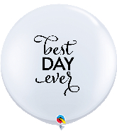 "36"" Simply Best Day Ever White Latex Balloons"