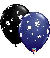 "11"" Celestial Fun Navy, Onyx Black Latex Balloons"