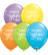 """11"""" Simply Happy You Day Bright Pastel Latex Balloons"""