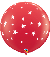 """36"""" Contempo Stars-A-Round Red Latex Balloons"""