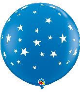 """36"""" Contempo Stars-A-Round Dark Blue Latex Balloons"""