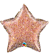 "20"" Glittergraphic Star Rose Gold Foil Balloon"