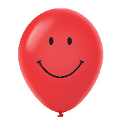 "11"" Smiley Face Latex Balloons 25 Count Red"