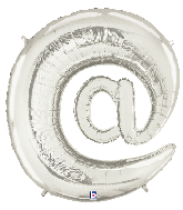 """40"""" Megaloon Foil Balloon"""" At"""" Symbol ( @ ) Silver"""