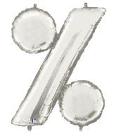 "40"" Megaloon Foil BalloonPercentage Symbol ( % ) Silver"