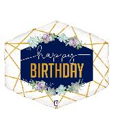 "30"" Foil Shape Balloon Geo Navy Birthday"