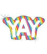 "34"" Foil Shape Balloon Holographic Rainbow YAY"
