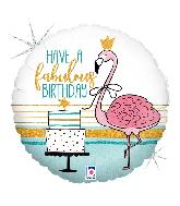 """18"""" Foil Balloon Holographic Fabulous Flamingo Birthday"""