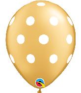 """11"""" Gold Big Polka Dots Latex Balloons 50 Count Bag"""