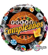 "18"" Cumpleanos Sparkling Casino Foil Balloon"