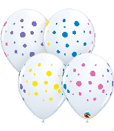 "11"" Colorful Polka Dots Colorful White Latex Balloons"