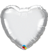 "18"" Heart Qualatex Chrome Silver Foil Balloon"