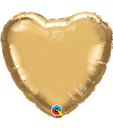 """18"""" Heart Qualatex Chrome Gold Foil Balloon"""
