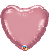 "18"" Heart Qualatex Chrome Mauve Foil Balloon"