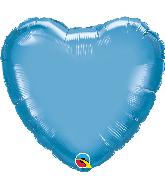 """18"""" Heart Qualatex Chrome Blue Foil Balloon"""