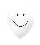 "11"" Smiley Face Latex Balloons 25 Count White"