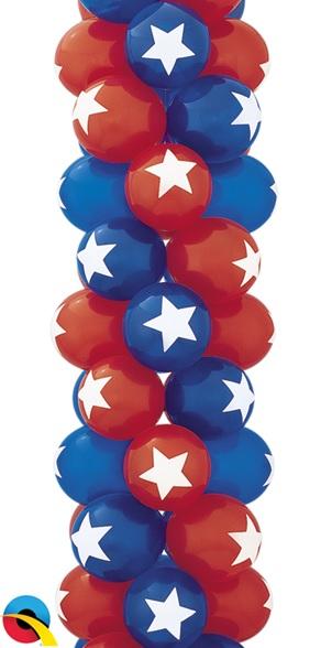"11"" Top Print Star Sapphire Ruby Balloons (50 per bag)"