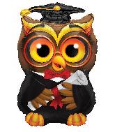 """24"""" Jumbo Graduation Owl Shape Foil Balloon"""