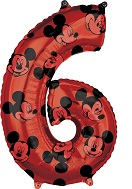 "26"" Mickey Mouse Forever Number 6 Mid-Size Foil Balloon"