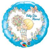 "18"" Feliz Dia Mama Blue Foil Balloon"