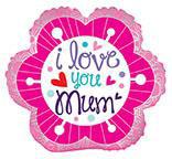 """18"""" I Love You Mum Flower Foil Balloon"""