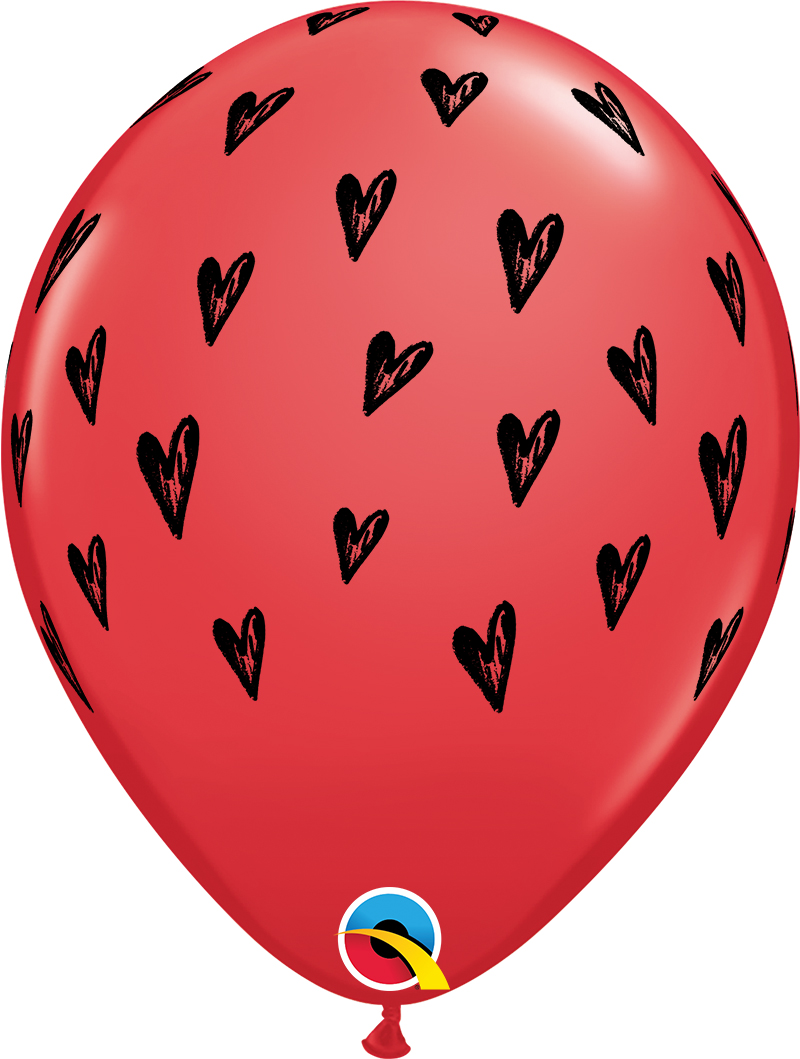 """11"""" Red (50 Per Bag) Prickly Heart Seeds Latex Balloons"""