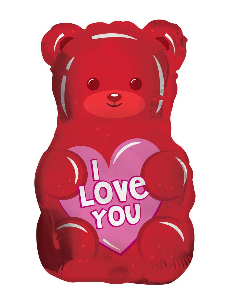 "18"" I Love You Gummy Bear Shape Clearview Foil Balloon"