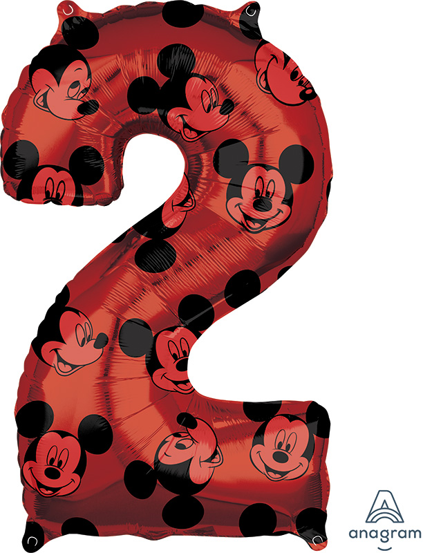 """26"""" Mickey Mouse Forever Number 2 Mid-Size Foil Balloon"""