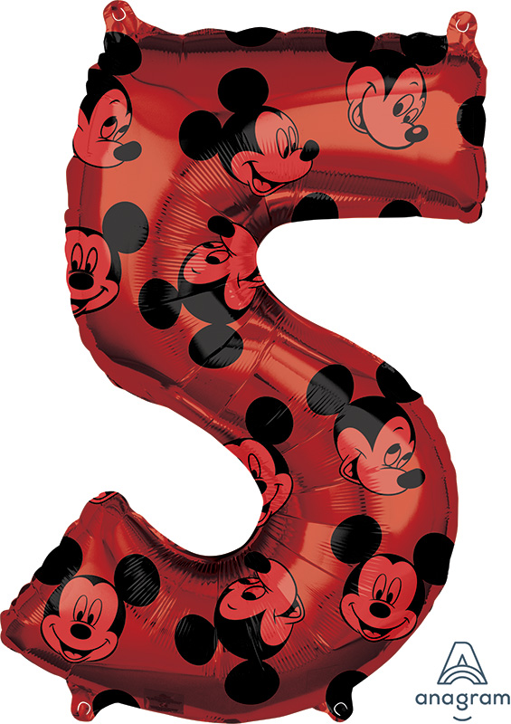 """26"""" Mickey Mouse Forever Number 5 Mid-Size Foil Balloon"""