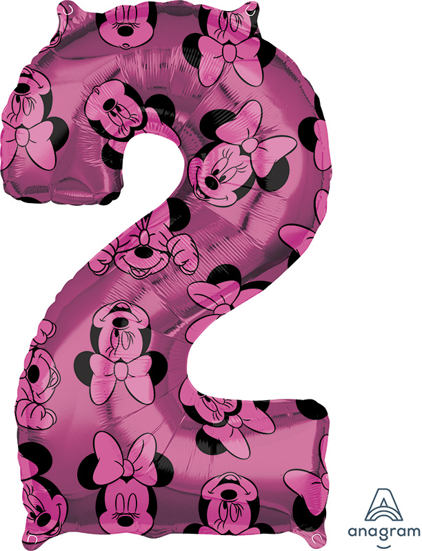 """26"""" Minnie Mouse Forever Number 2 Mid-Size Foil Balloon"""