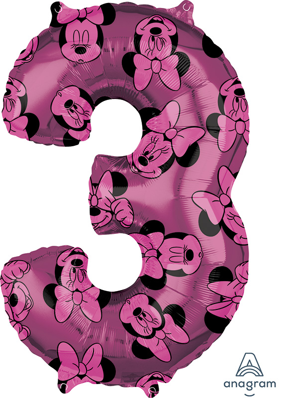 """26"""" Minnie Mouse Forever Number 3 Mid-Size Foil Balloon"""