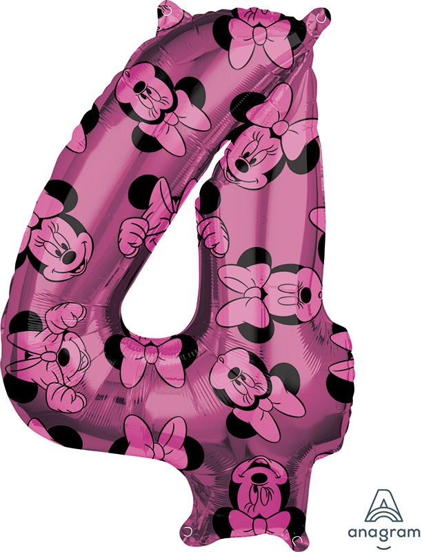 """26"""" Minnie Mouse Forever Number 4 Mid-Size Foil Balloon"""