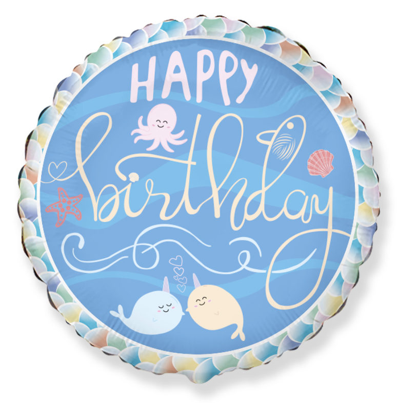 """18"""" Happy Birthday Narwhal Friends Foil Balloon"""