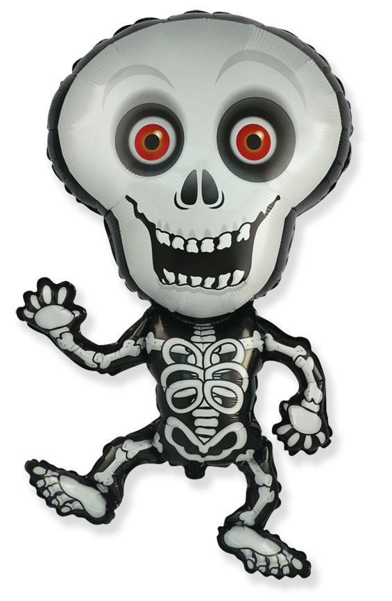 Jumbo Halloween Skeleton Grey Foil Balloon