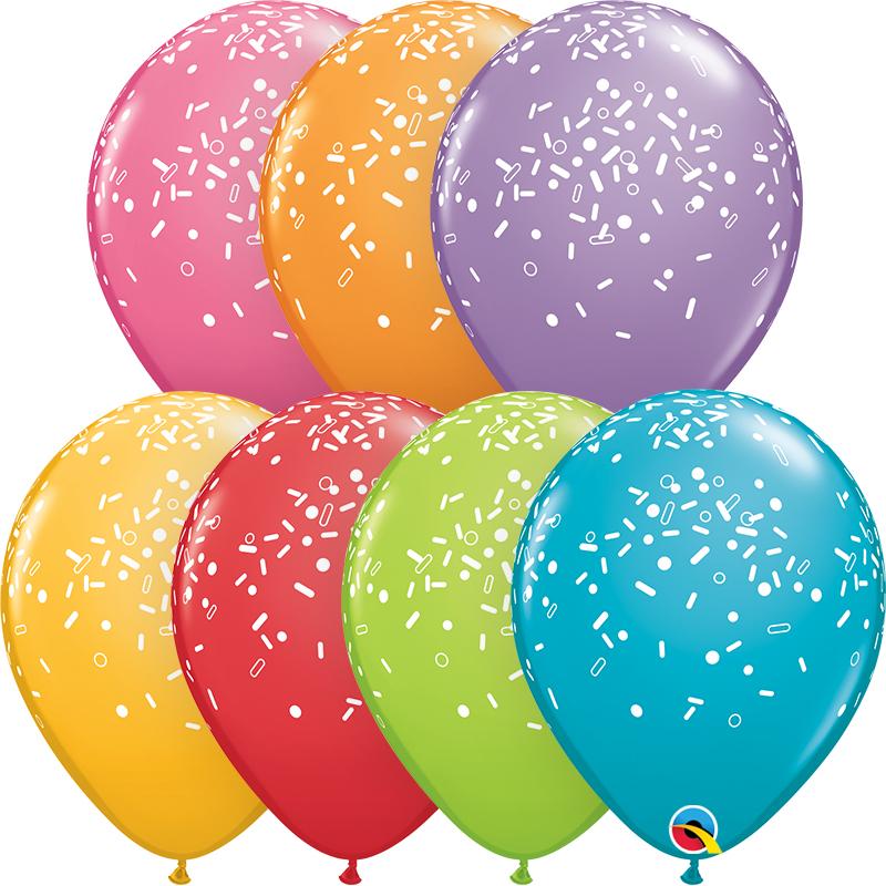 "11"" Festive Assorted (50 Per Bag) Sprinkles & Dots Latex"