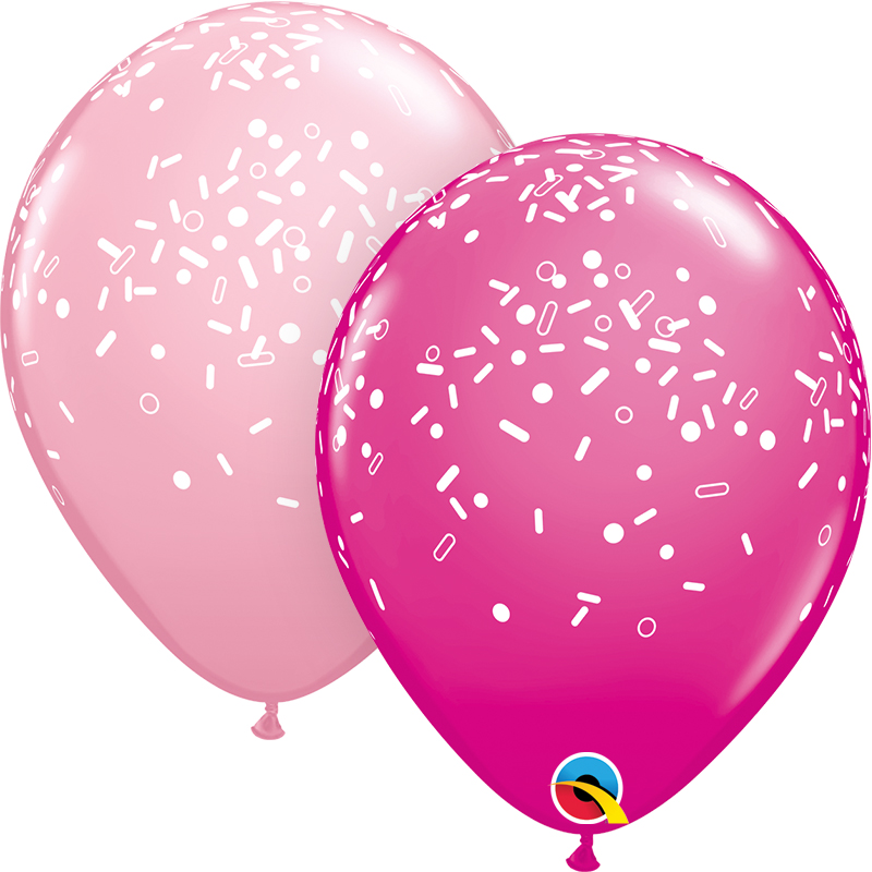 "11"" Pink&Berry (50 Per Bag) Sprinkles & Dots Latex Balloons"