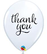 "11"" White (50 Per Bag) Simply Thank You Latex Balloons"