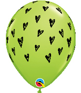 "11"" L. Green (50 Per Bag) Prickly Heart Seeds Latex Balloons"