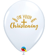 "11"" White (50 Per Bag) Christening Cross Latex Balloons"