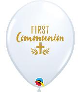 "11"" White (50 Per Bag) Communion Cross Latex Balloons"