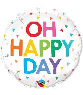"18"" Round Oh Happy Day Rainbow Confetti Foil Balloon"