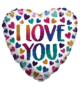 """18"""" I Love You Rainbow Hearts Holographic Foil Balloon"""