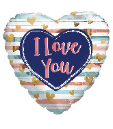 """18"""" I Love You Trendy Colors Foil Balloon"""
