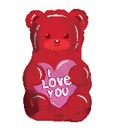 "18"" I Love You Gummy Bear Shape Clearview Foil Balloon"