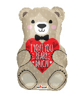 "18"" I Love You Bear With Bow Foil Balloon"