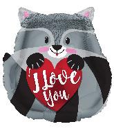 "18"" I Love You Raccoon Foil Balloon"