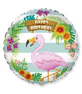 "18"" Happy Birthday Flamingo Foil Balloon"